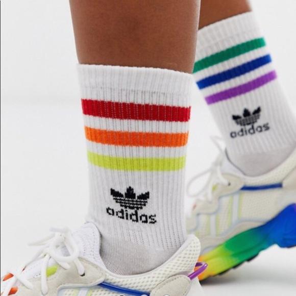 shop best sellers quite nice sneakers for cheap Adidas originals lgbtq gay pride socks NWT